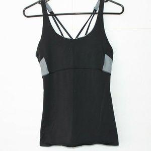 Athleta Black & Gray Tank Top With Built In Bra